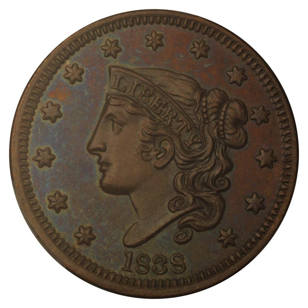 For Sale: 1838 Cent No Mint Mark Braided Hair PCGS PR-64