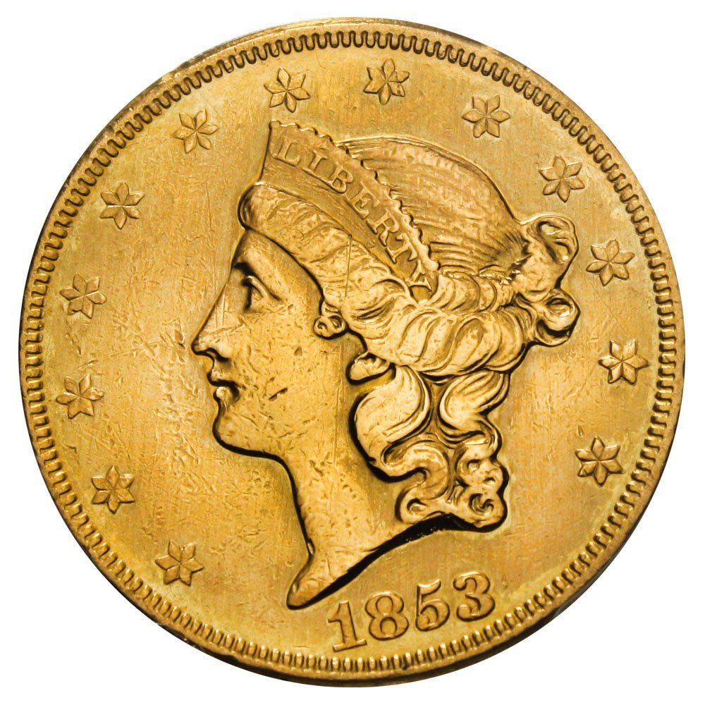 Rare coin for sale: 1853 P $20 Liberty Gold 1853/2 Twenty Dollar PCGS 98