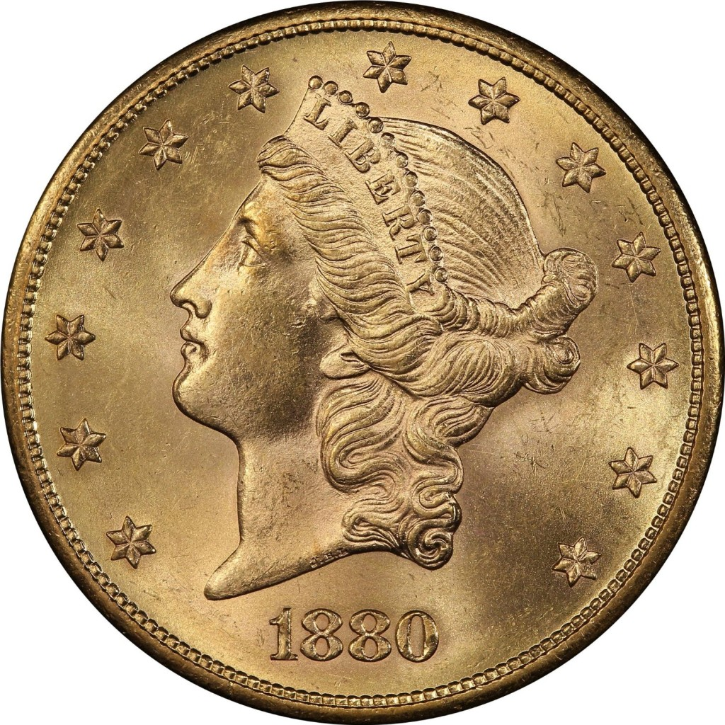 For sale: 1880 S Liberty Head, With Motto Above Eagle Type-III $20 PCGS MS-62