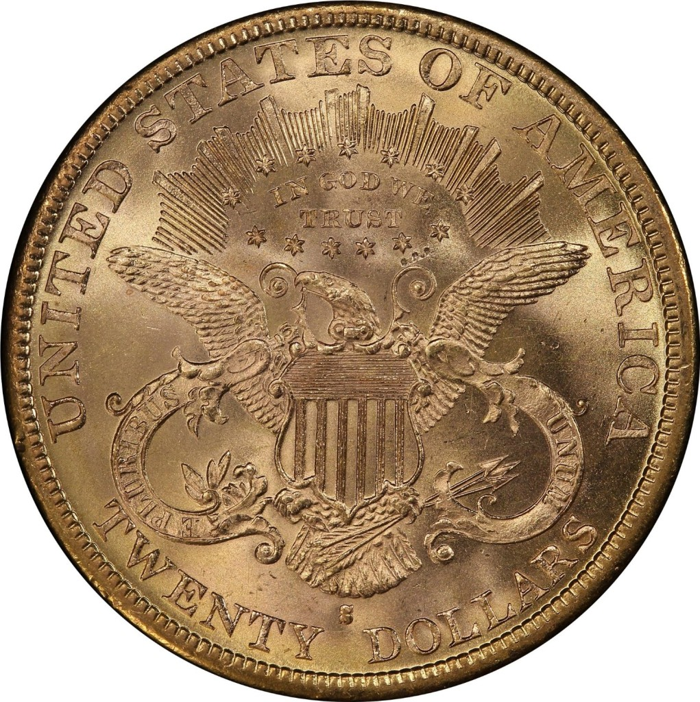 1880 S Liberty Head, With Motto Above Eagle Type-III $20 PCGS MS-62