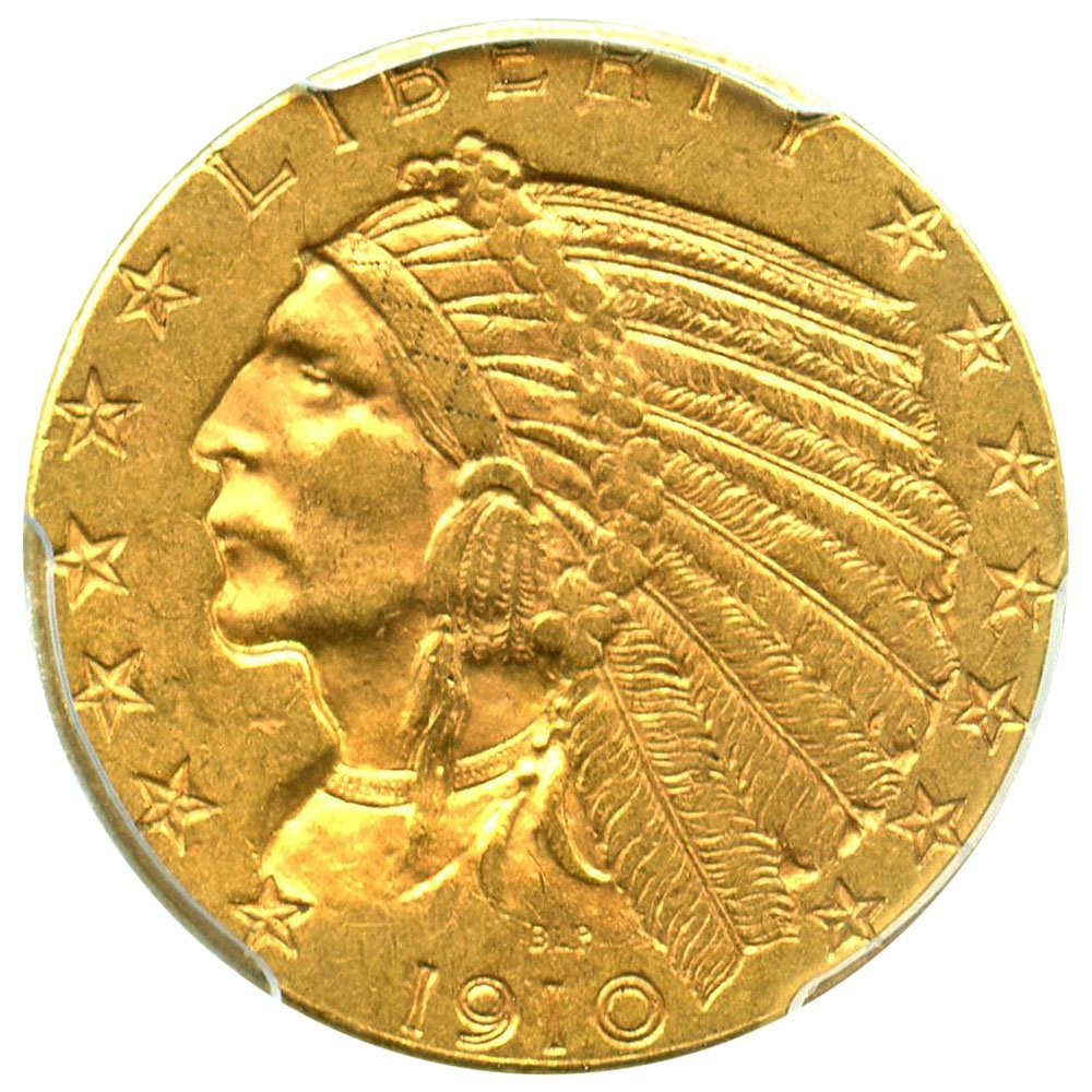 rare coin for sale: 1910 P $5 Indian Gold Five Dollar PCGS AU58