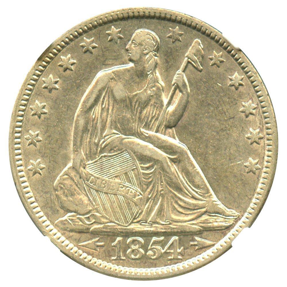 Rare coin for sale: 1854 P Liberty Seated Half Dollars Arrows Half Dollar AU53 NGC