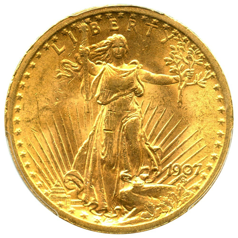 Rare coin for sale: 1907 P $20 Saint Gaudens Gold Saint Gaudens Twenty Dollar MS63 PCGS