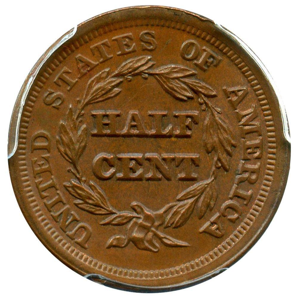 1853 P Half Cents Half Cent MS66 PCGS BN