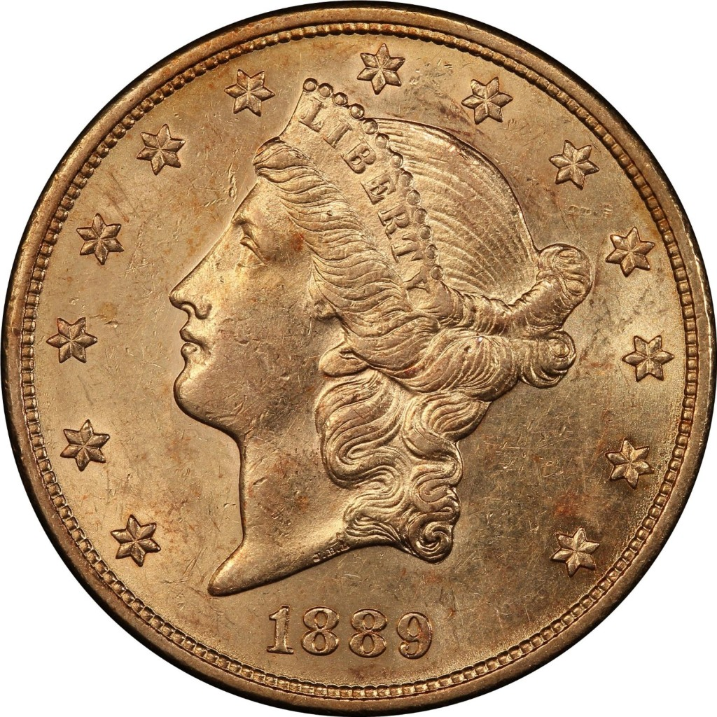 Rare coin for sale: 1889 S Liberty Head, With Motto Above Eagle Type-III $20 PCGS AU-58