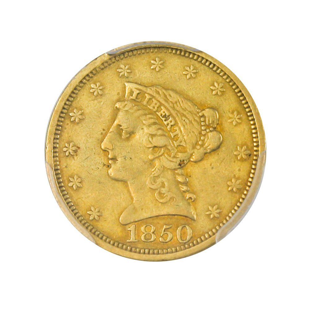 Rare coin for sale: 1850 P $2.50 Liberty Gold Two and a half Dollar XF45 PCGS