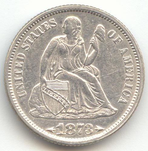 1873 P Seated Liberty Arrows at Date Dime Almost Uncirculated Details