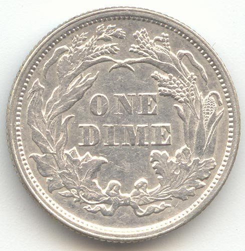1873 P Seated Liberty Arrows at Date Dime Almost Uncirculated Details -- Reverse