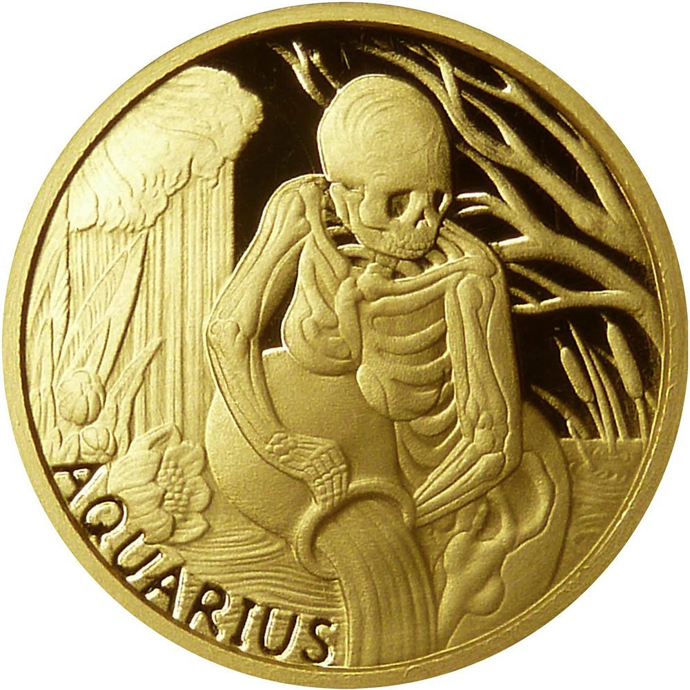 2015 Collection skullcoins AQUARIUS Memento Mori Zodiac Skull Horoscope Gold Coin 2015 Dollar Perfect Uncirculated -- Obverse