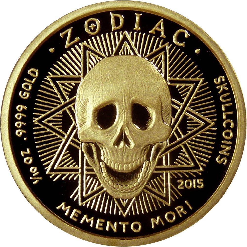 2015 Collection skullcoins AQUARIUS Memento Mori Zodiac Skull Horoscope Gold Coin 2015 Dollar Perfect Uncirculated -- Reverse