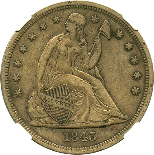 Rare coin for sale: 1843 P Seated Dollars Dollar VF35 NGC