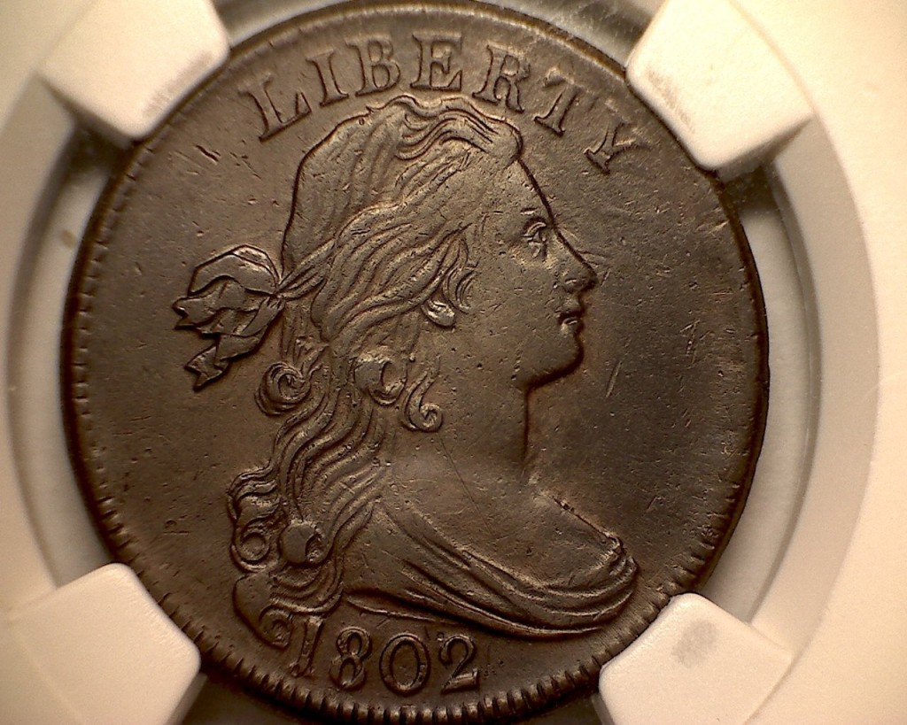Rare coin for sale: 1802 Draped Bust Penny Choice About Uncirculated Details NGC