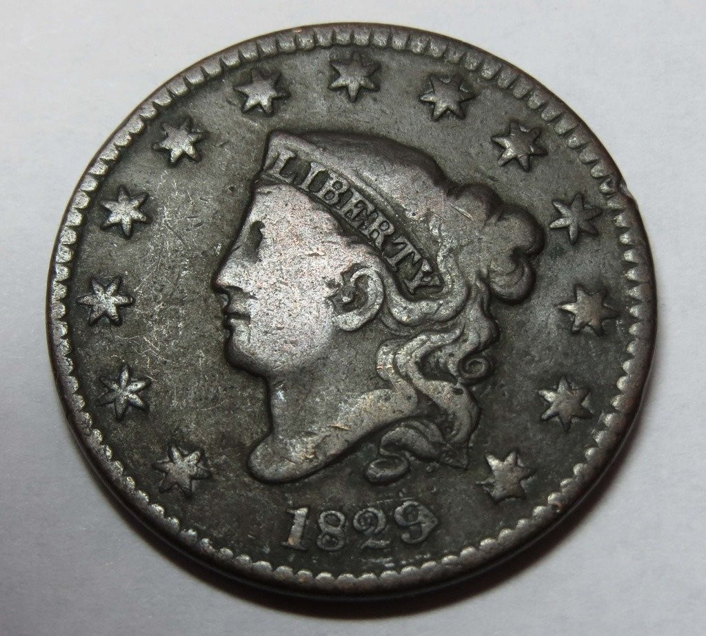 Rare coin for sale: 1829 Liberty Head Matron Head Large Cent Fine