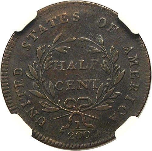 1797 P Half Cents Plain Edge Half Cent AU50 NGC BN